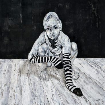 Svartvit flicka (100x100 cm, akryl)