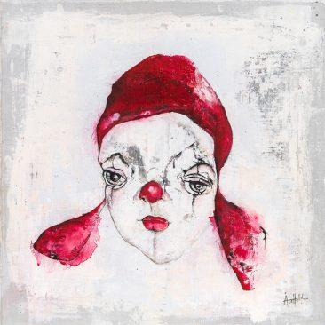 Clown i röd mössa (40x40 cm, akryl)
