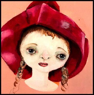 Flicka i röd hatt (40x40 cm, akryl)