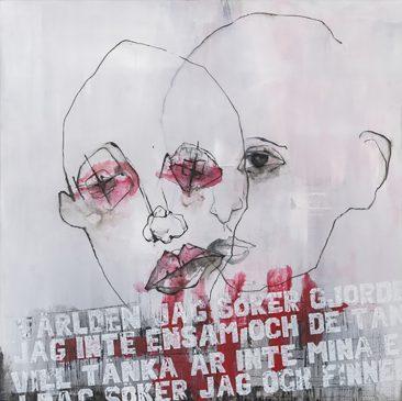 Två ansikten (100x100 cm, akryl)
