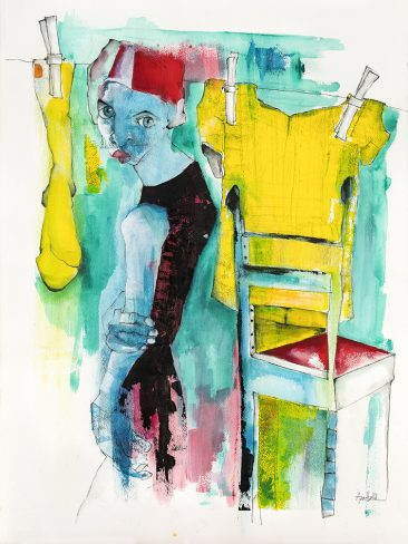 På lina (60x80 cm, akvarell)